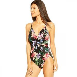 NWT Aqua Green Wrap Tie Front Swimsuit Small Black
